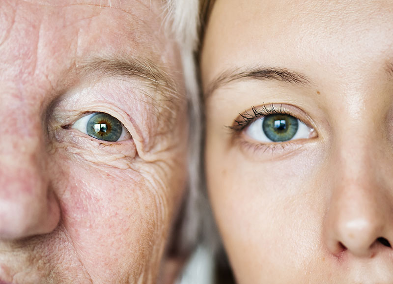 Close up of a man and womans eye